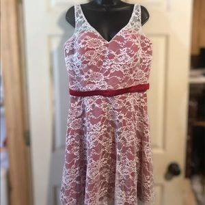 Dresses & Skirts - Kanali K Red & White Lace Dress Sz 16